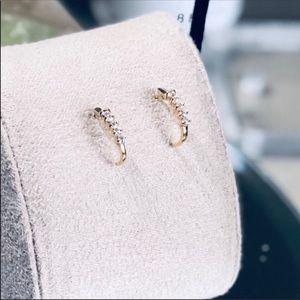 Timeless 0.7ct C hoop 14K Diamond Accent Earrings